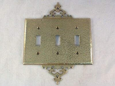 Vintage Hammered Brass Triple Toggle Switch Plate A7131