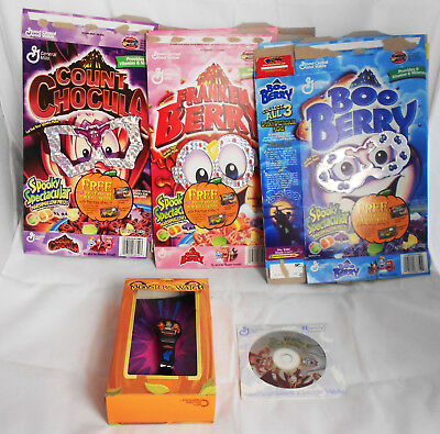 Monster Cereal Collectible Set 5 Rare 2001 Mask Boxes, Watch, Halloween Party CD