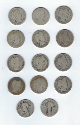 Assorted Standing Liberty & Barber 90% Silver Quarter Dollar Coins, 14 Coins