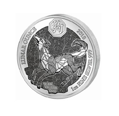 50 FRW Ruanda Silber Lunar Jahr des Hund / Year of the Dog 2018 1 OZ PP/Proof