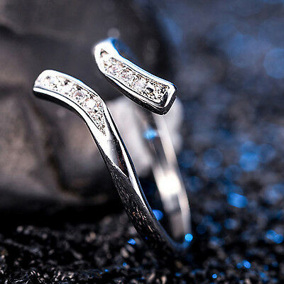 GUT 1PCS Silver Plated Adjustable Toe Finger Ring Crystal Womens Foot Jewelry