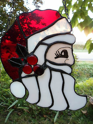 Stained Glass Merry Christmas Santa Hand Crafted Decoration 8""