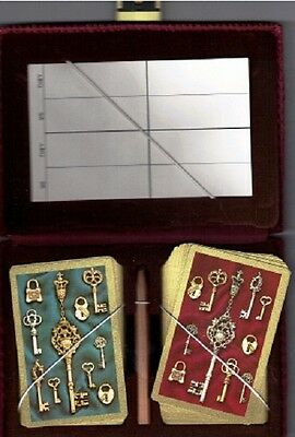 Playing Cards 2 Sets in Burgundy Cordoroy Fabric Case with Snap Closure