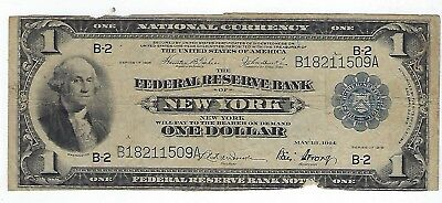 Series Of 1918 Fed Res Bank Of New York $1 Blue Seal Nat Currency Lg Size Note