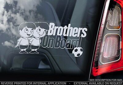 Brothers on Board - Car Window Sticker - Kids Cartoon Decal Sign Gift Idea - V01
