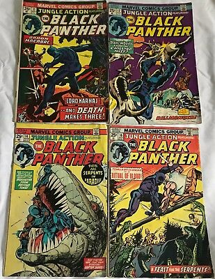 Lot Of 4 Black Panther Comics (Marvel, 1974/1975) Bronze Age #11,12,14,16