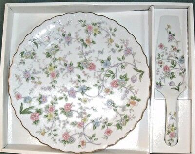 """New Andrea by Sadek Corona Floral 2 Peice Set 10"""" Cake Plate And Server"""