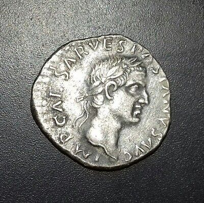 Ancien Roman Imperial Denarius Silver Vespasian 69-79 AD Authentic Antique