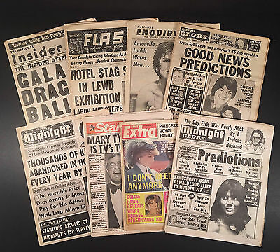 8 TABLOIDS 1960s-1980s INSIDER, FLASH, ENQUIRER, GLOBE, MIDNIGHT, STAR, EXTRA