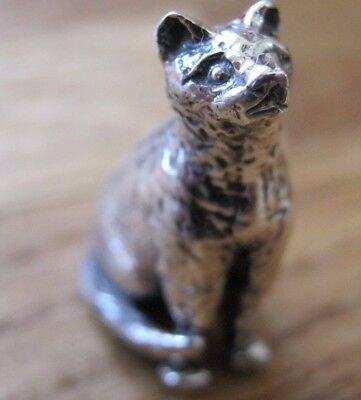 Edwardian Style Detailed Birmingham HM Sterling Silver Figure Of a Kitten Cat