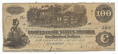 1862 Confederate States Of America One Hundred Dollar Bill, Richmand