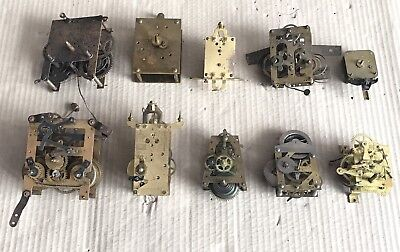 Lot of 10x Vintage Clock Movements - Uhrenfabrik, PH&S etc - Spares/Parts