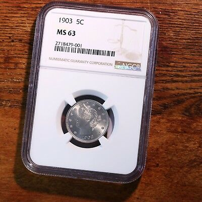 1903 Liberty Head 5C NGC Certified MS63 63 Mint State Graded US V Nickel Coin