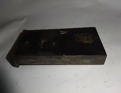 Antique Vintage Old Cast Iron Rim Lock 14.5 x 7.5cm