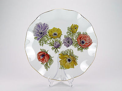 Chance Bros floral glass plate - 'Anemone' Michael Harris 1965 first all colour