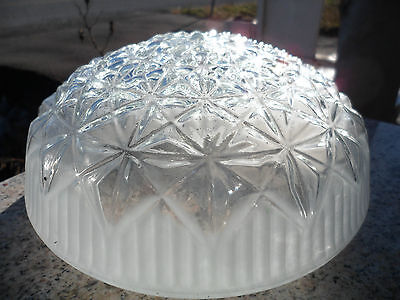 """Vintage Round Clear Frosted Art Deco Glass Ceiling Light Lamp Shade 7 1/2"""""""