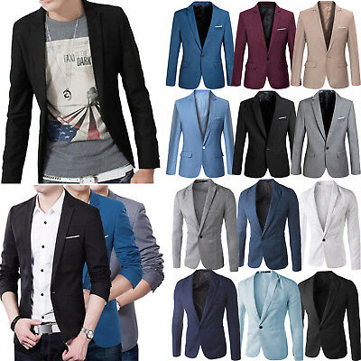 Men's One Button Blazer Suit Coat Slim Fit Formal Business Jacket Top Outwear