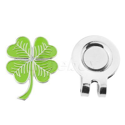 Sturdy Four Leaf Clover Magnetic Hat Clip With Golf Ball Marker Rub For Luck