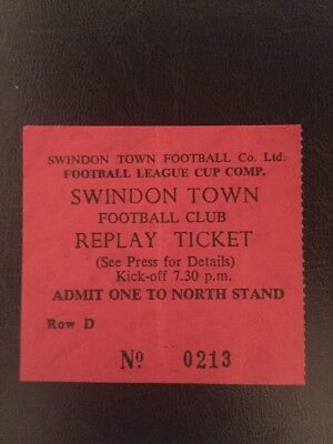 Ticket: Swindon V Arsenal 11/12/1979 League Cup Quarter-Final Replay