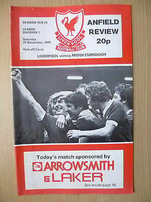 1978 League Division One- LIVERPOOL v MIDDLESBROUGH