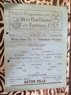 1945 WEST HAM UNITED v TOTTENHAM HOTSPUR - 8th September