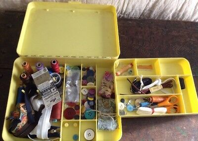 Vintage Yellow Plastic Sewing Case With Contents