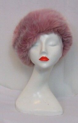 Vintage Pink leather and Faux Fur Hat Retro