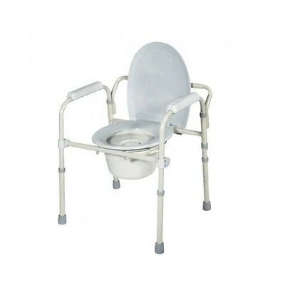 Medical Bedside Commode Home Arm Support Drive Folding Steel Bariatric Drop Grey