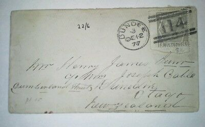 GREAT BRITAIN 1877 Cover Dundee to Otago, New Zealand