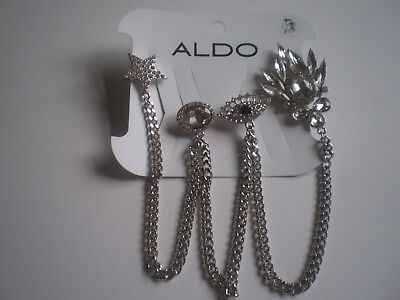 ALDO SILVER TONE BLINGY BOOT CLIPS with DANGLING CHAINS