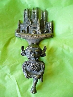Vintage Brass Lincoln Cathederal W/gothic Gargoyle Imp Door Knocker-