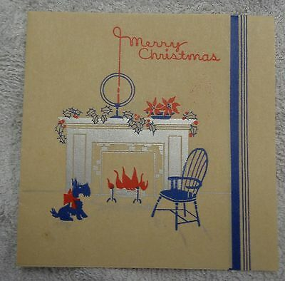 Merry Christmas Fireplace and Scottish Terrier  Red and Blue  Christmas Card