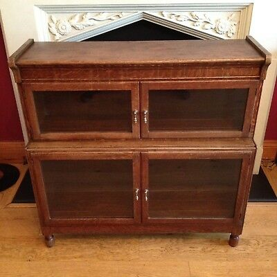 Vintage Minty Of Oxford Bookcase Solid Oak Library 2 Tier Old Antique Storage.