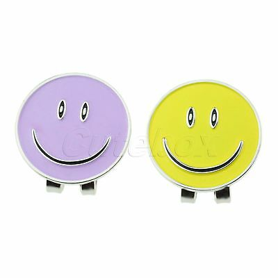 Purple/Yellow Smile Face Golf Ball Marker With Magnetic Hat Clip Easily Clip