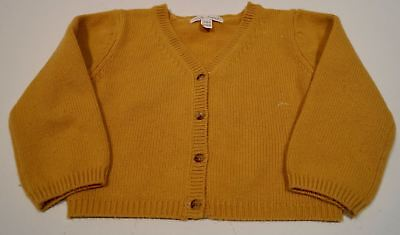 MARIE CHANTAL Baby Girl Mustard 100% Cashmere V Neck Knitted Cardigan Top 24M