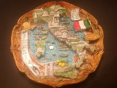 Italian Souvenir ITALIA Hanging Plate with Famous Landmarks in 3D
