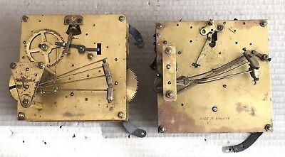 Lot 2x Vintage Clock Movements - Large 5 Hammer Chime - Spares/Parts