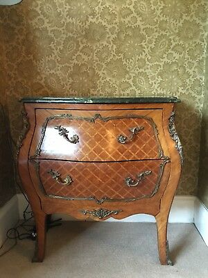2 Antique French Marble Top Walnut Commodes Chest of Drawers