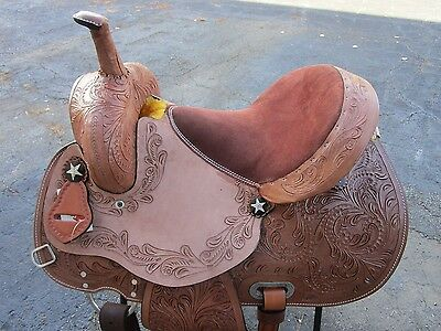 15 16 Barrel Racing Show Pleasure Floral Tooled Leather Western Horse Saddle