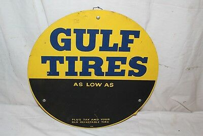"Vintage 1950's Gulf Tires Gas Station Oil 16"" Metal Sign"