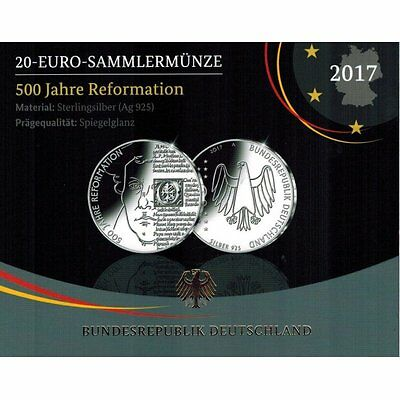 "2017 Germany 20 Euro Silver Proof Coin ""Protestant Reformation 500 Years"""