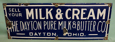 "Vintage Dayton Pure Milk & Butter Co. MILK & CREAM Porcelain Sign 20""X7"" Cobalt"