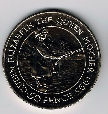 1995 Ascension Island CuNi 50 pence crown coin - Queen Mother