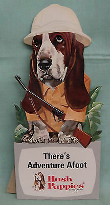 Vintage Hush Puppies Shoe Store Sign Counter Display Easel Back Dog w/Rifle