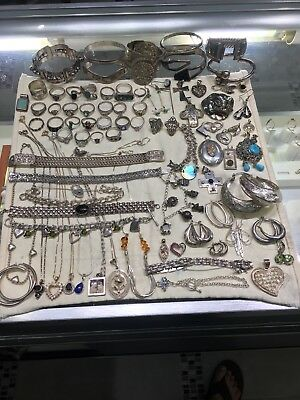 HUGE Estate Sterling Silver Lot W/ Stones Scrap Resell Wholesale NR 789.9 Grams
