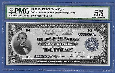 1918 $5   Frbn  ♚♚New York♚♚ Pmg About Unc 53