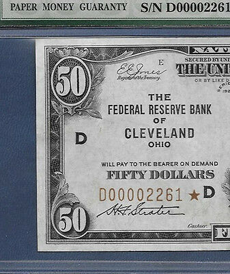 """1929 $50 Frbn """"cleveland"""" With  ♚♚Star♚♚   Pmg About Unc 55    Best Known!!!"""