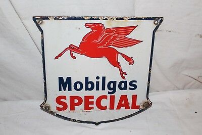 "Vintage 1940's Mobil Mobilgas Special Gas Station 12"" Porcelain Metal Sign"