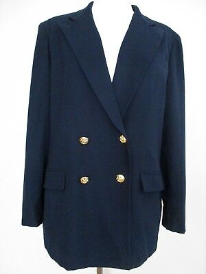 Vintage Lauren Ralph Lauren Blazer navy wool double breasted gold buttons 14P