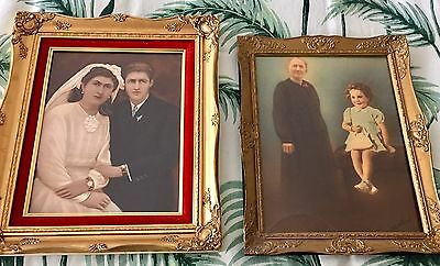 Antique Vintage Art Deco Painting Photograph Wedding Portrait Ornate Gilt Frame